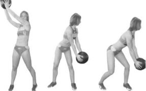 Fig 6. Standing reverse wood chop with a medicine ball. This exercise is a resistive diagonal pattern of the trunk that demands a high level of lumbo-pelvic stability and combines upper and lower-chain integration as the ball is moved in a diagonal pattern across the body.